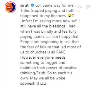 I stopped paying tithe and nothing happened to my finances - Uti Nwachukwu