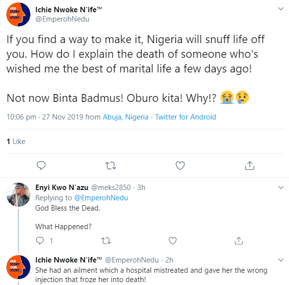 Nigerians mourn media personality Binta Badmus who died allegedly due to a medical error
