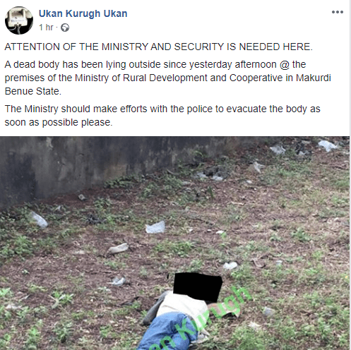 Body of unidentified man dumped within premises of Benue Ministry of Rural Development (photo)
