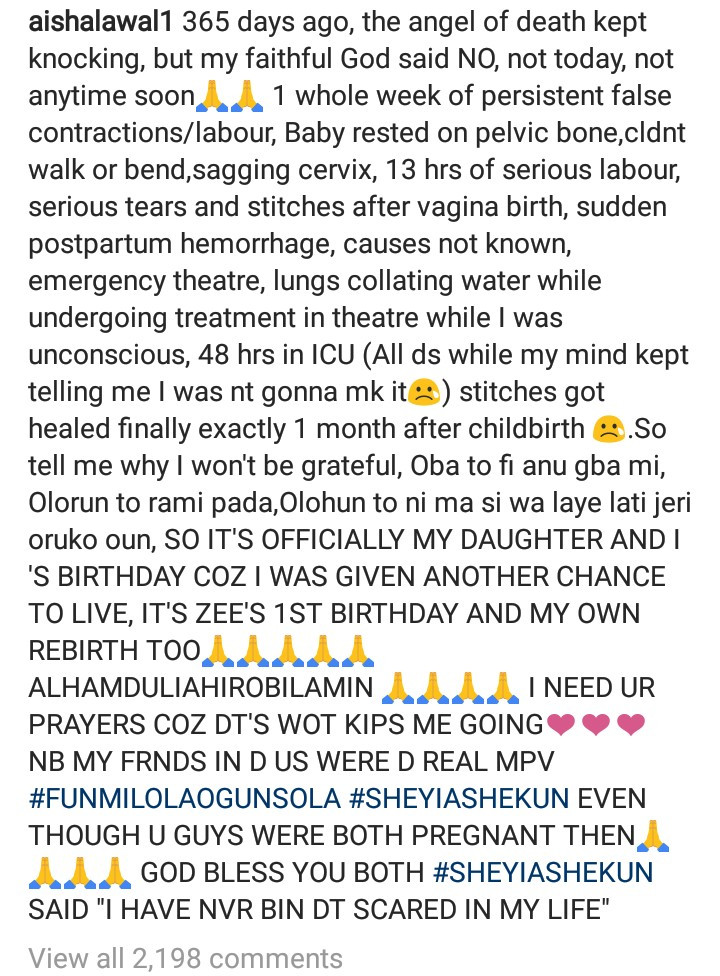 Actress Aisha Lawal recounts life-threatening ordeal she suffered during childbirth a year ago