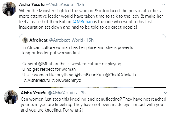 Aisha Yesufu, other Nigerians argue over video of President Buhari not shaking hands with Senator Remi Tinubu at a function