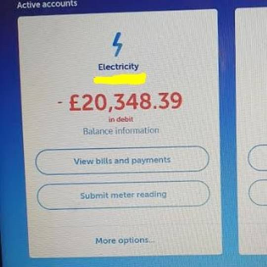 Struggling Mum unhappy with ?600 electric bill gets another for ?20,000 after complaining