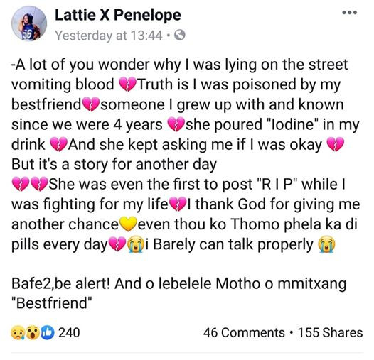 """""""She was the first to post R I P while I was fighting for my life"""" - Young woman narrates how she was allegedly poisoned by her best friend"""