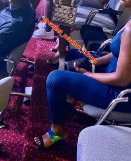 Actress Moesha Boduong spotted sitting on a