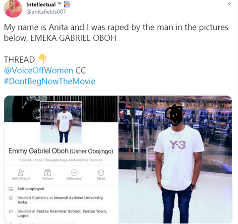 Nigerian lady calls out coursemate who she claimed raped her