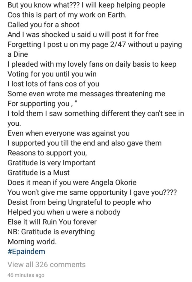 """""""What an ungrateful personality"""" Angela Okorie calls out Tacha for not showing gratitude after she supported her while in the Big Brother Naija house"""