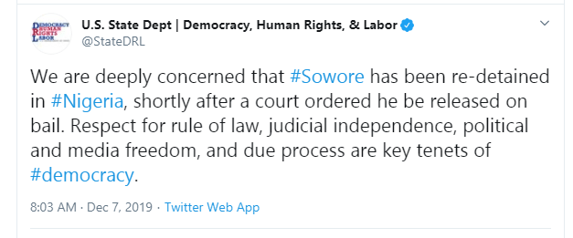US government speaks on Sowore