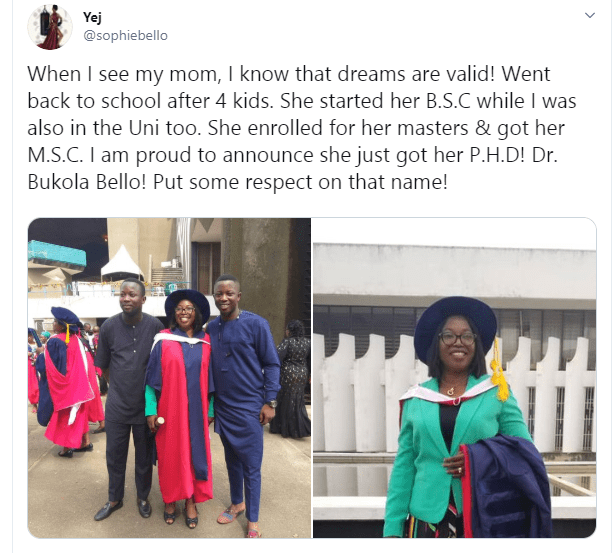 Nigerian mum who went back to school after having 4 kids, graduates with a PhD