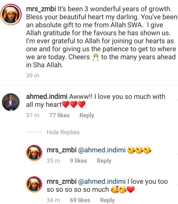 Zahra Buhari and hubby, Ahmed Indimi, celebrate 3rd wedding anniversary