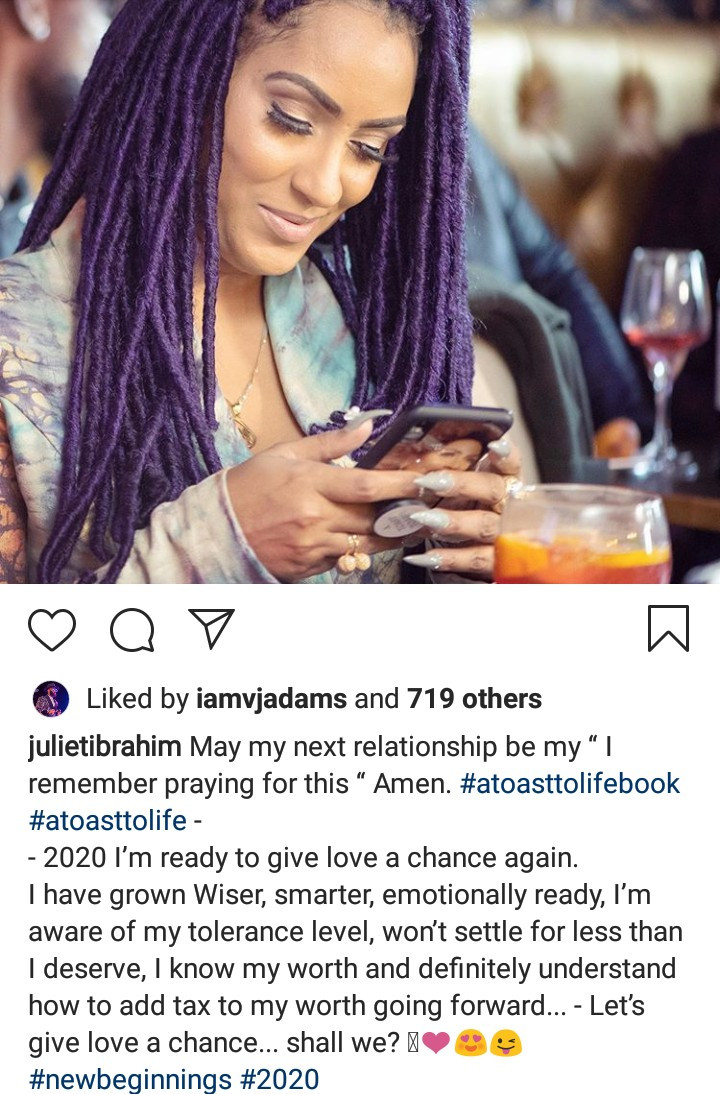 """""""2020 I?m ready to give love a chance again"""" - Juliet Ibrahim"""