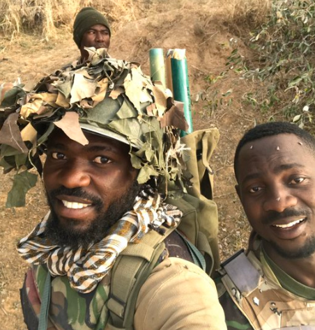 Nigerians soldiers serving in the North East share photos of themselves at their station as they wish Nigerians a Merry Christmas