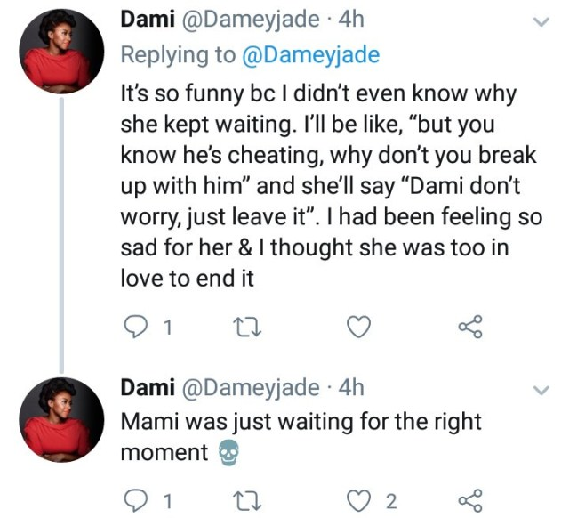 Twitter Stories: Friend expresses shock after she discovered why her friend refused to leave her cheating boyfriend