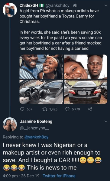 Woman whose picture circulated on social media with claims that she saved for 2 years and bought her boyfriend a car, speaks up