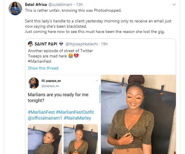 Nigerian lady loses a job after being photoshopped on a naked body in a viral tweet