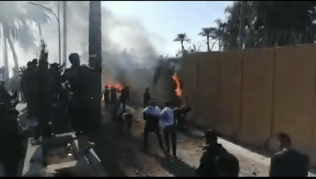 Protesters storm US Embassy in Iraq and set it ablaze as retaliation after US military attacks that killed 25 terrorists