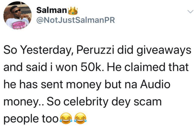 "Peruzzi and his fans clash after they accused him of ""audio giveaway"" and for wasting time in fulfilling the promise he made to them"