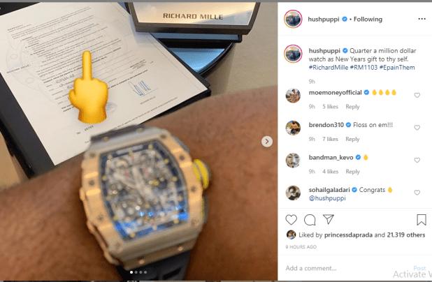 Hushpuppi shows off his N90m ($250k) Richard Mille wrist watch