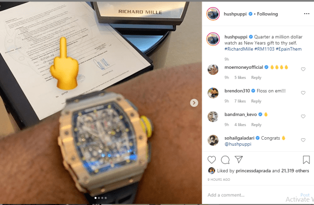 Hushpuppi shows off his N90m ($250k) Richard Mille wrist watch