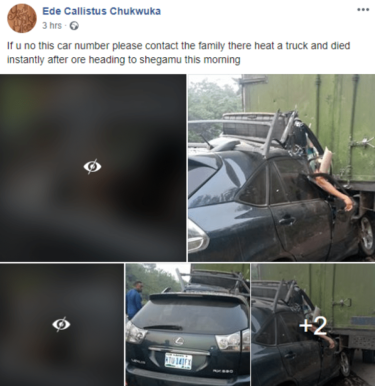 Photos: Two feared dead in fatal accident along Lagos-Ibadan expressway