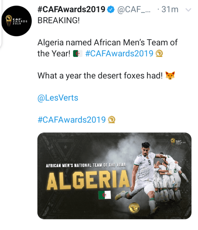 #CAFawards : Algeria wins Best Men