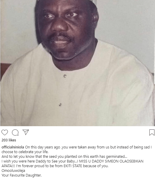 Niniola celebrates her father on the anniversary of his death