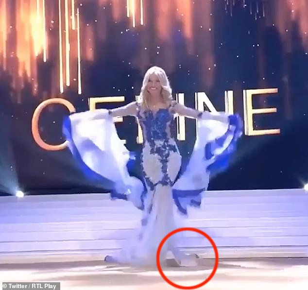 Watch the embarrassing moment Miss Belgium 2020 took a tumble and lost her strapless bra on stage (Video)