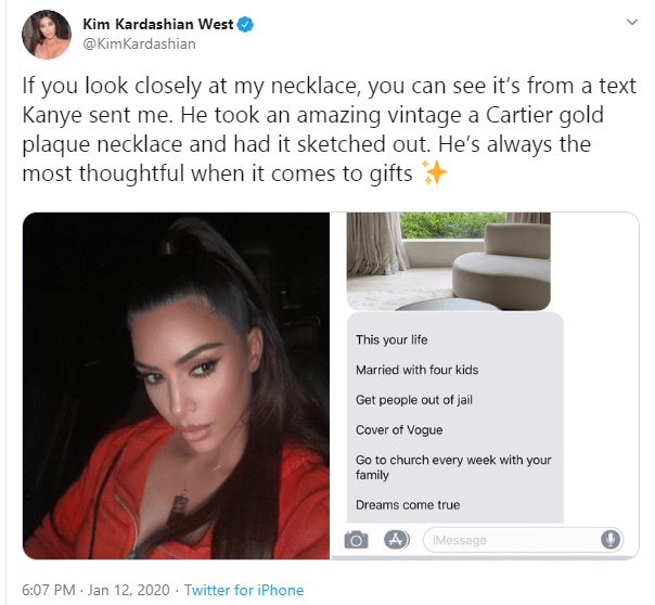 Kim Kardashian shows off a Cartier Necklace Kanye West made her from a text conversation