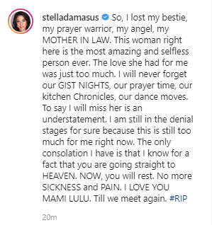 """I lost my bestie"" Stella Damasus mourns the death of her mother-in-law"