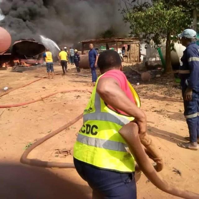 Tanker explodes inside mechanic workshop in Anambra (photos)
