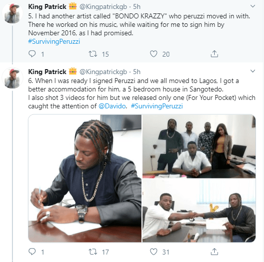 """See my reward for helping Peruzzi"" Record producer who claims to have helped Peruzzi before he got recognized, accuses him of betrayal"