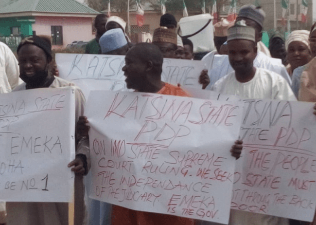 Photos: PDP members stage protest over Supreme court judgement sacking Emeka Ihedioha as Imo state governor