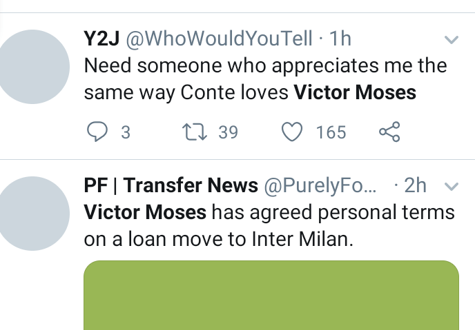 The internet reacts after Inter Milan agree terms with Victor Moses over loan move
