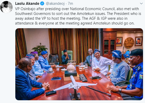 Breaking: Osinbajo, IGP, South West governors agree that Amotekun should go on