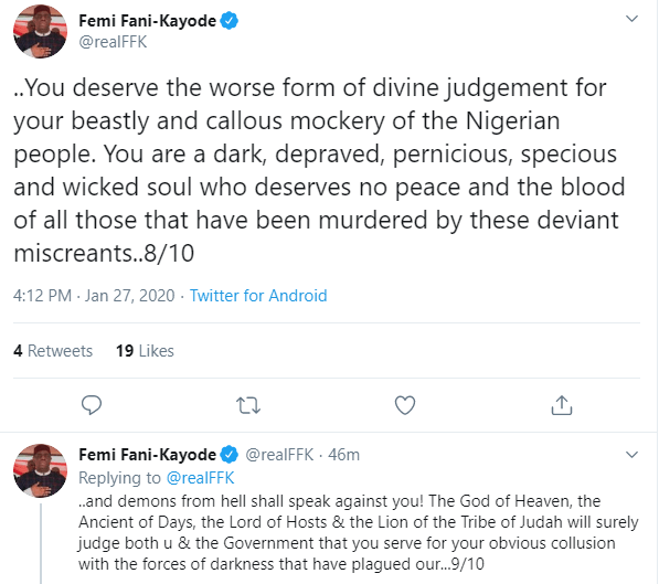 FFK drags Femi Adesina for reportedly saying that