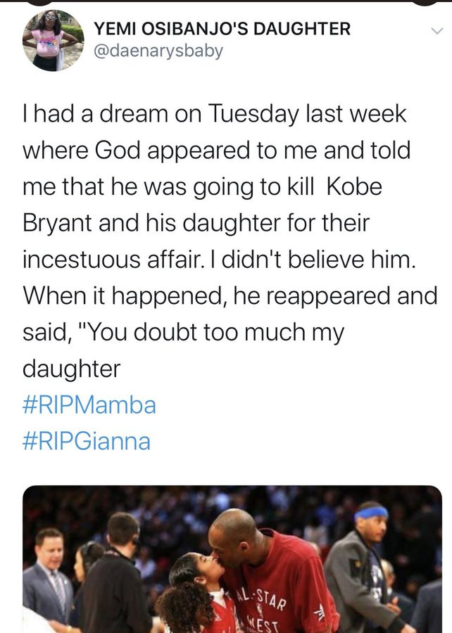 Nigerian lady dragged by Twitter users after saying Kobe Bryant and Gianna deserved to die over an
