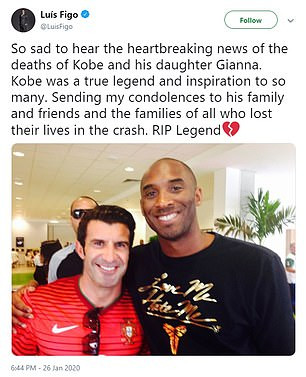 Football legend Luis Figo accused of copying Cristiano Ronaldo's tribute to Kobe Bryant word for word 3