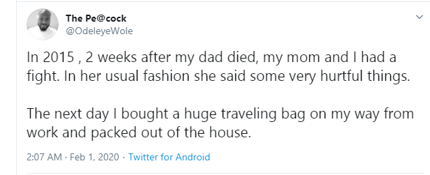 Twitter user recounts how he walked away from his mother, 2 weeks after his father