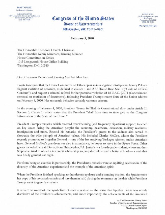 Florida congressman files Ethics complaint against Nancy Pelosi for tearing Trump