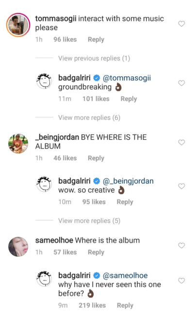 Rihanna teases fans who asked for new music from her