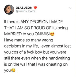 Lady thanks her husband for marrying her even after she cheated on him 2