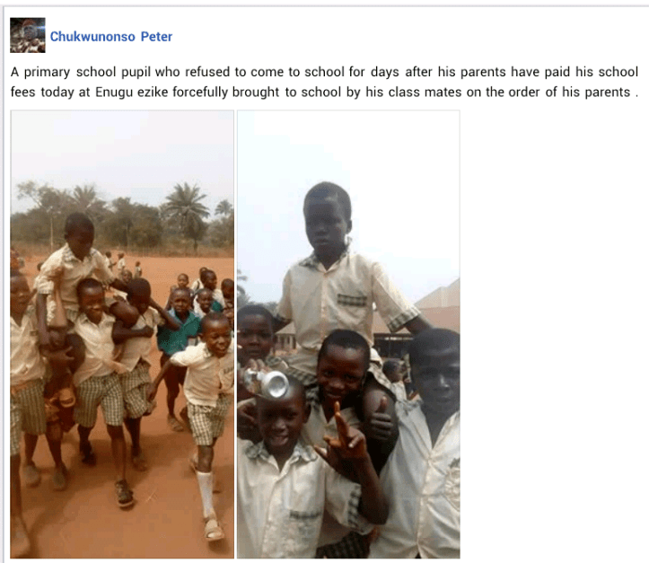 Lol... Students drag their classmate to school after he refused to attend classes, days after his parents paid his tuition fees (photos)