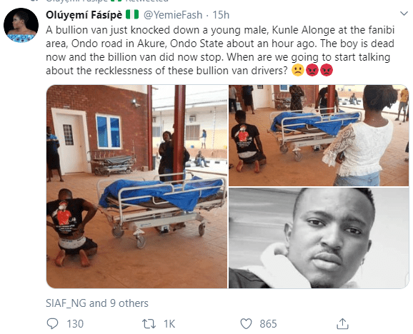 Young man allegdedly killed in Akure after a bullion van hit him then refused to stop