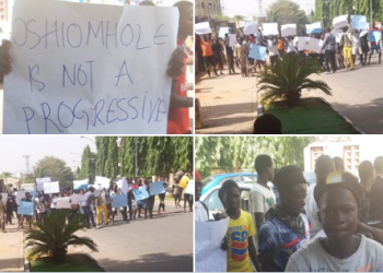 APC youths stage protest at party headquarters, demand Oshiomhole?s sack (photographs/video)