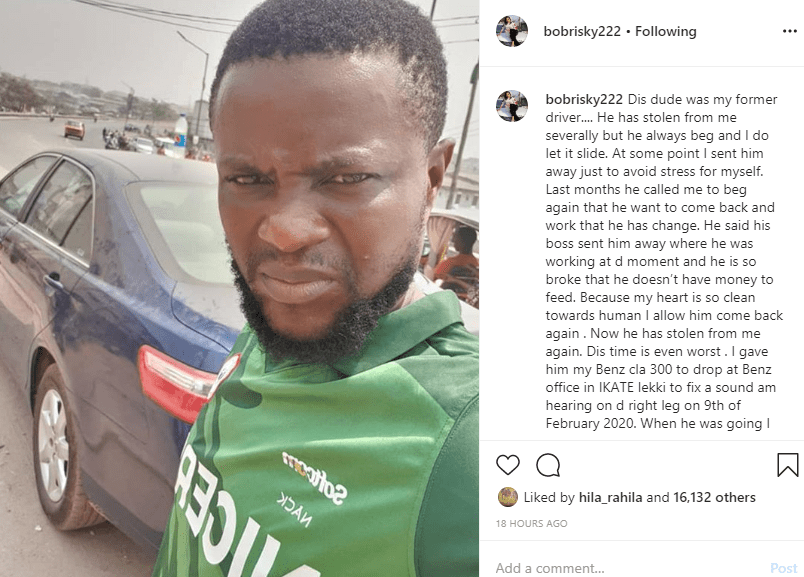 Bobrisky cries out after his driver allegedly absconded with his car and N596k