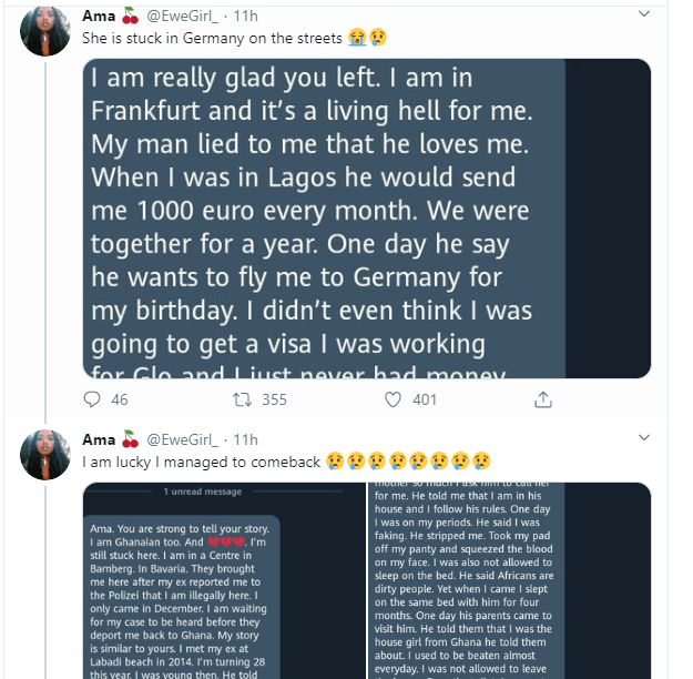 Ghanaian lady narrates how she was sexually and physically abused by a German man she fell in love with after arriving Germany