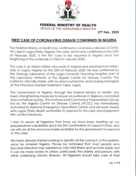 Minister of Health Osagie Ehanire confirms first case of Coronavirus in Nigeria, says efforts are being made to trace all contacts made by the Italian patient