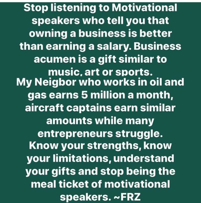 """""""Stop listening to motivational speakers who tell you owning a business is better than earning salary"""" Freeze warns"""