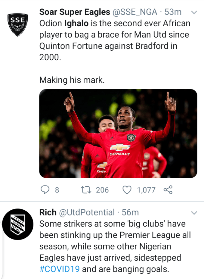 Social media users react after Odion Ighalo scored two wonderful goals in Man United