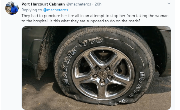 FRSC officials allegedly puncture tyre of a car driven by a lady rushing a pregnant woman in labour to the hospital (video)