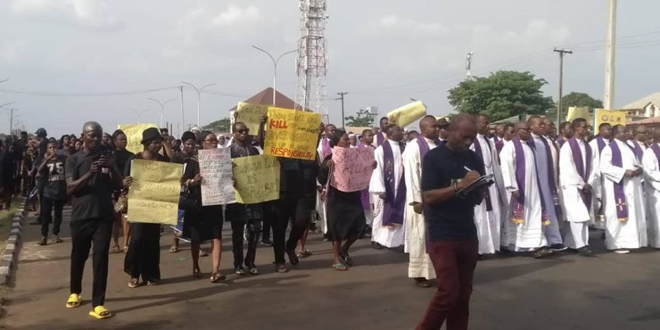Photos: Catholic faithfuls in Anambra stage protest against killings in Nigeria